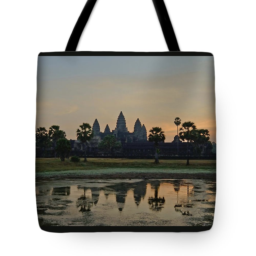 Fairy Tale Tote Bag featuring the photograph Angkor Wat Sunrise Pond by Tom Wurl