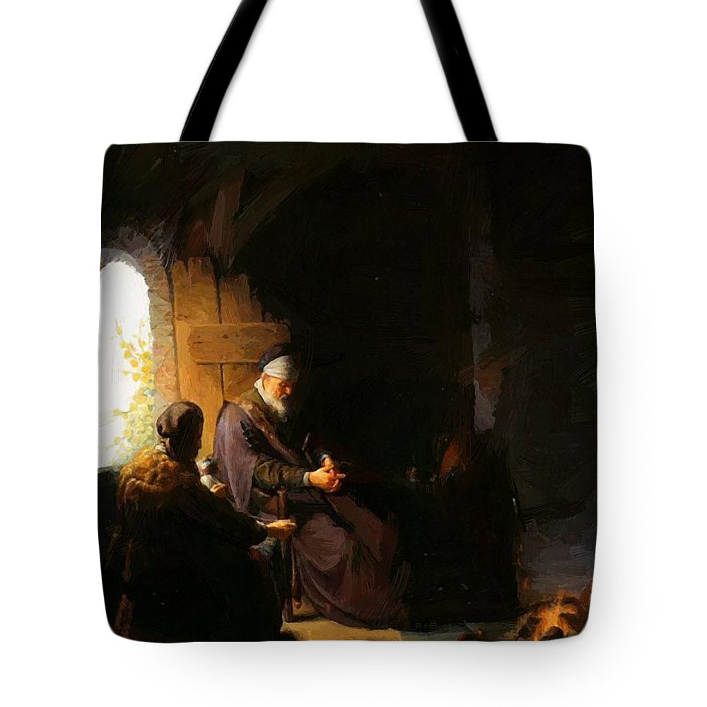 Anna Tote Bag featuring the painting Anna And Blind Tobit by Dou Gerrit