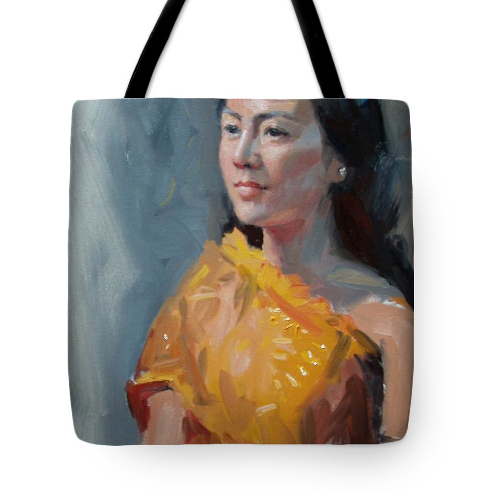 Portrait Tote Bag featuring the painting Anna by Dianne Panarelli Miller