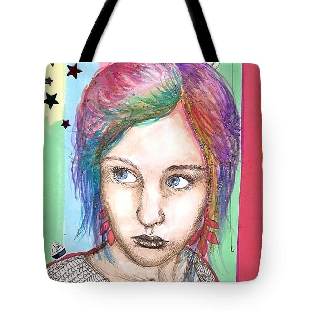 Stars Tote Bag featuring the drawing Anne Sofie by Freja Friborg