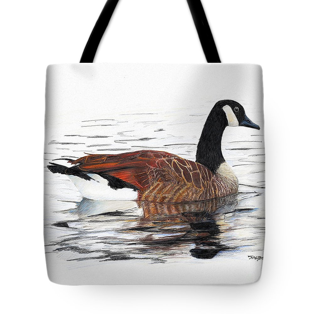 Goose Tote Bag featuring the drawing Annie Belle by Kevin Scott Jacobs