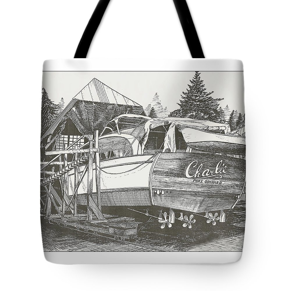 Nautical Yacht Portraits Tote Bag featuring the drawing Annual Haul Out Chris Craft Yacht by Jack Pumphrey