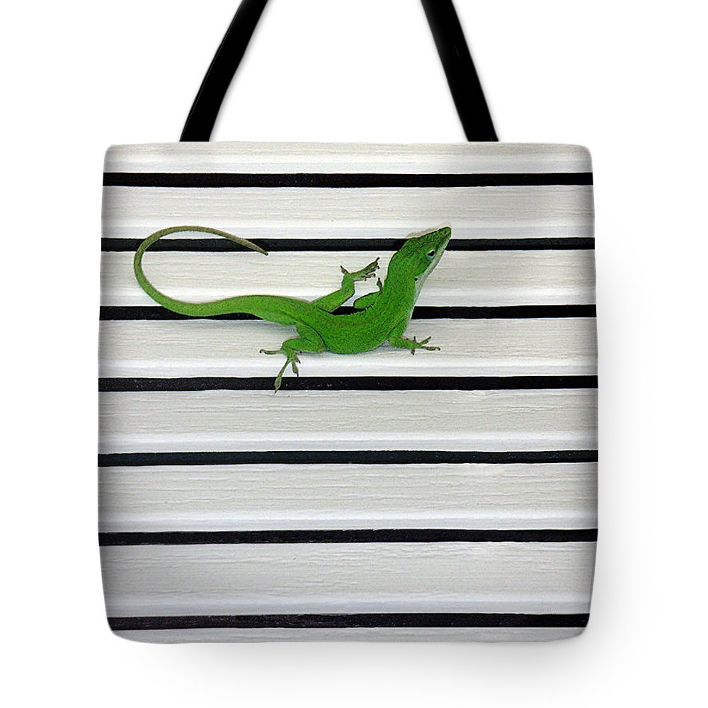 Nature Tote Bag featuring the photograph Anole Shuttered Out by Lucyna A M Green