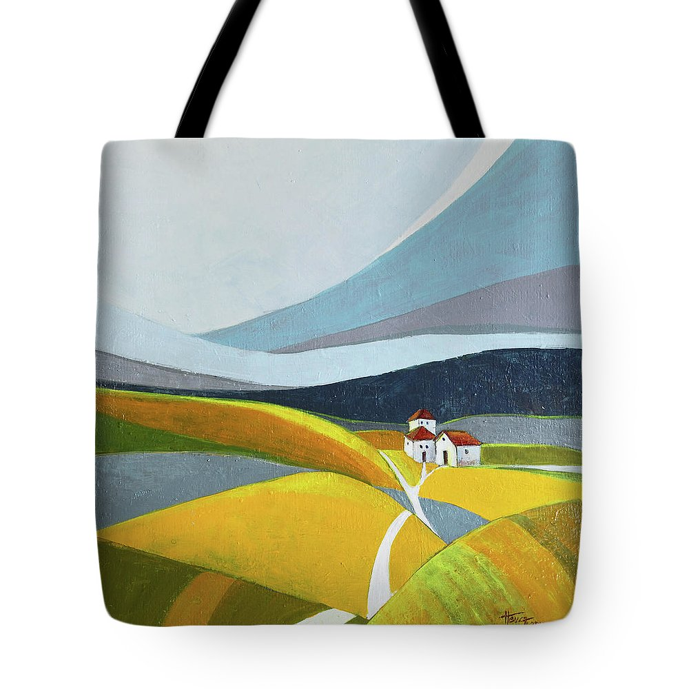 Landscape Tote Bag featuring the painting Another Day On The Farm by Aniko Hencz