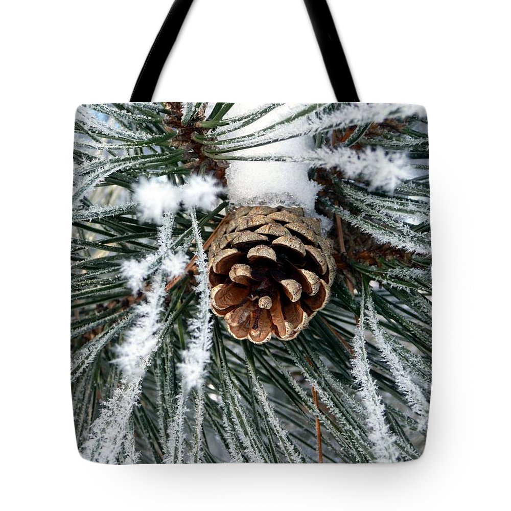 Frost Tote Bag featuring the photograph Another Frosty Pine Cone by RiaL Treasures