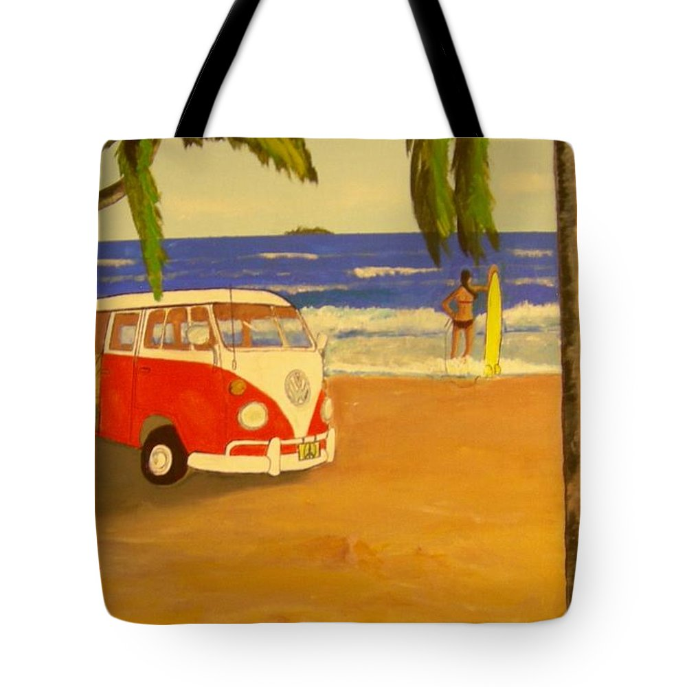 Vw Minibus Tote Bag featuring the painting Another Groovy Beach Weekend by David Earl Tucker