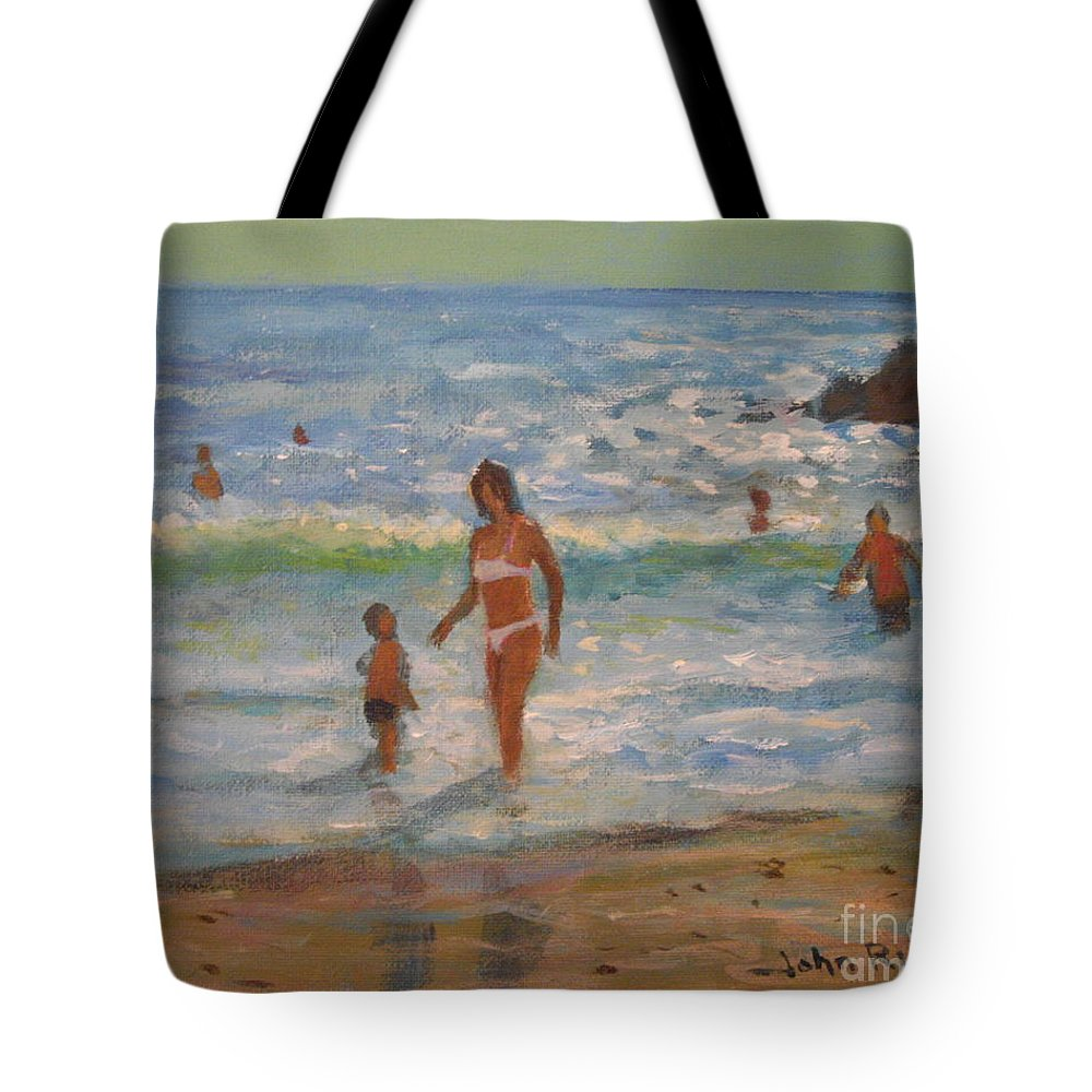 Sea Tote Bag featuring the painting Another Hot Day by John Richie