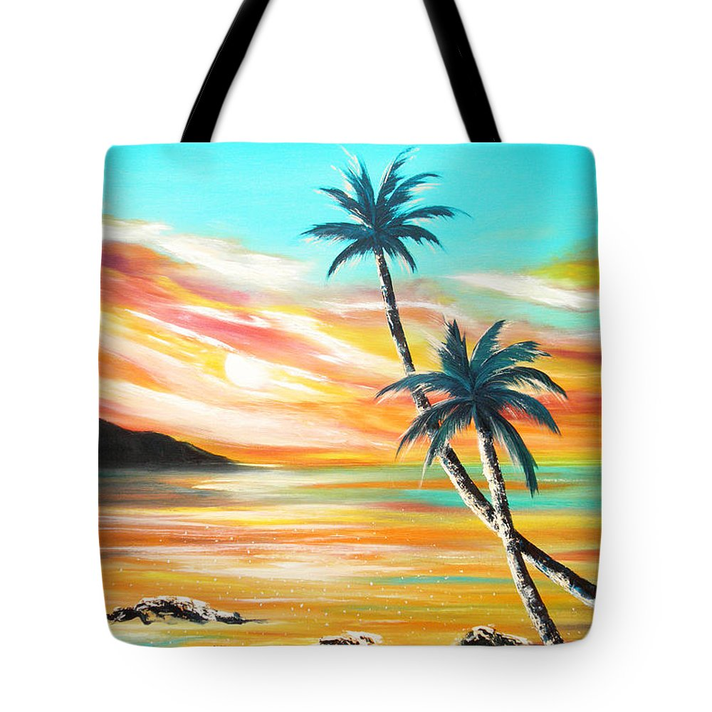 Sunset Tote Bag featuring the painting Another Sunset In Paradise by Gina De Gorna