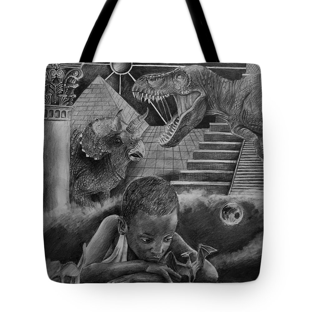 Another World Tote Bag featuring the drawing Another World by Julia Kravets