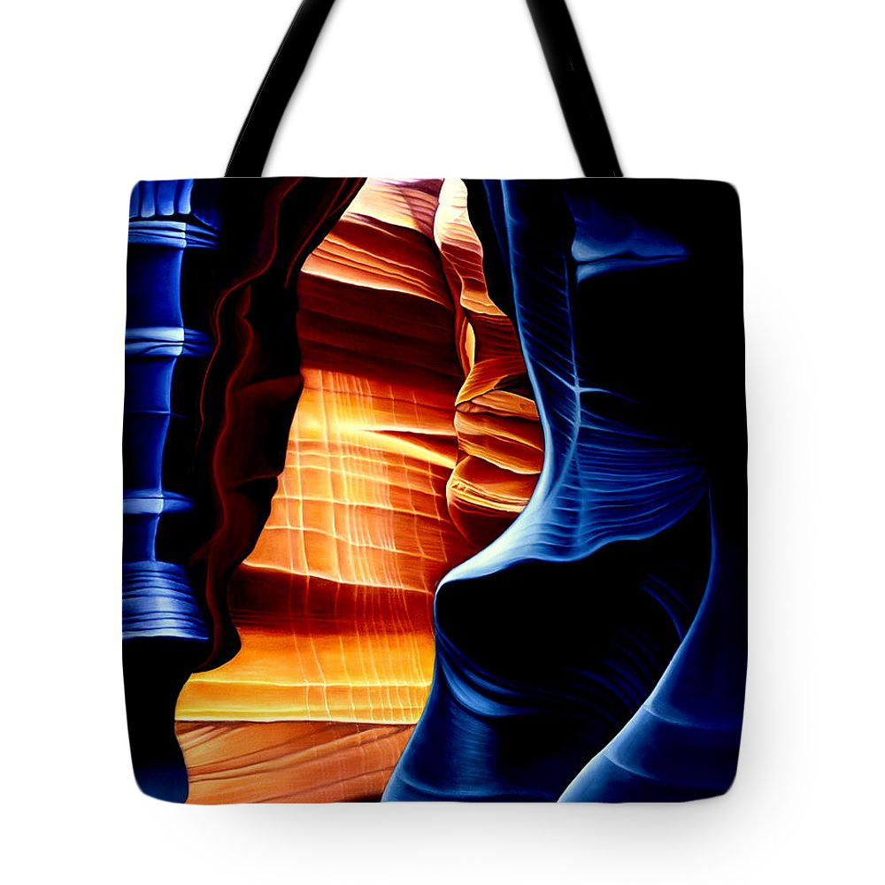 Landscape Tote Bag featuring the painting Antelope Canyon by Anni Adkins