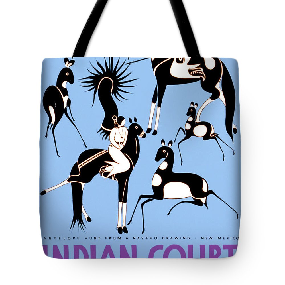 Antelope Hunt From A Navajo Drawing Tote Bag featuring the painting Antelope Hunt From A Navajo Drawing by MotionAge Designs