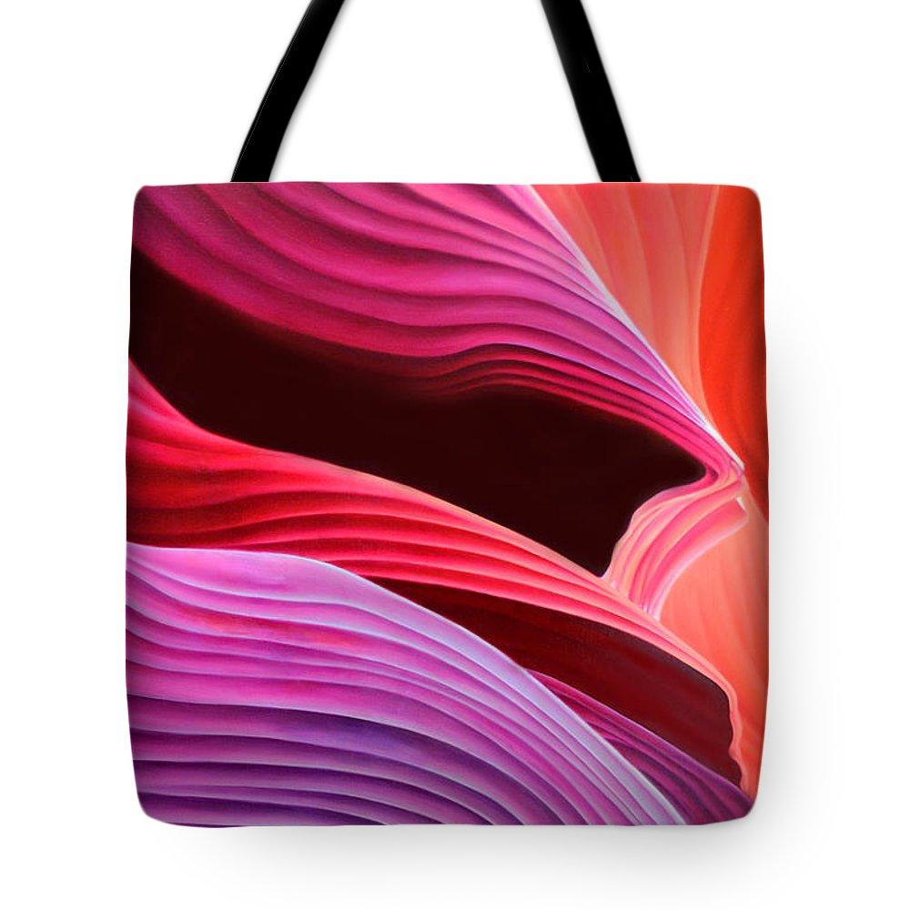 Antelope Canyon Tote Bag featuring the painting Antelope Waves by Anni Adkins