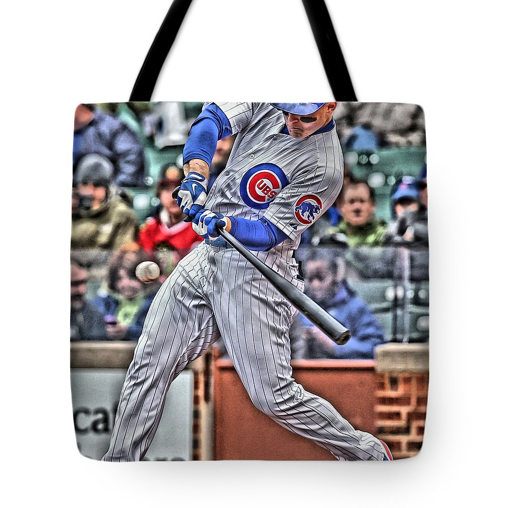 Anthony Rizzo Tote Bag featuring the painting Anthony Rizzo Chicago Cubs by Joe Hamilton