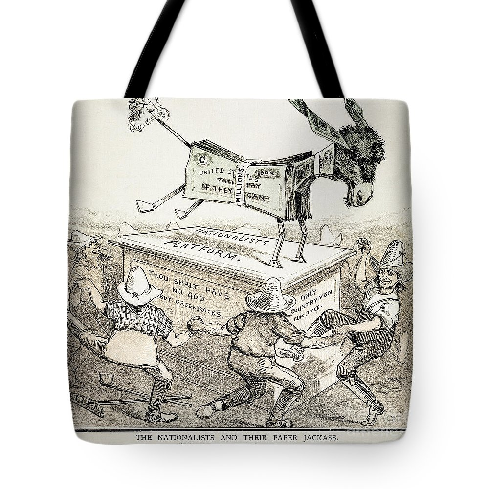 1876 Tote Bag featuring the photograph Anti-greenback Cartoon by Granger