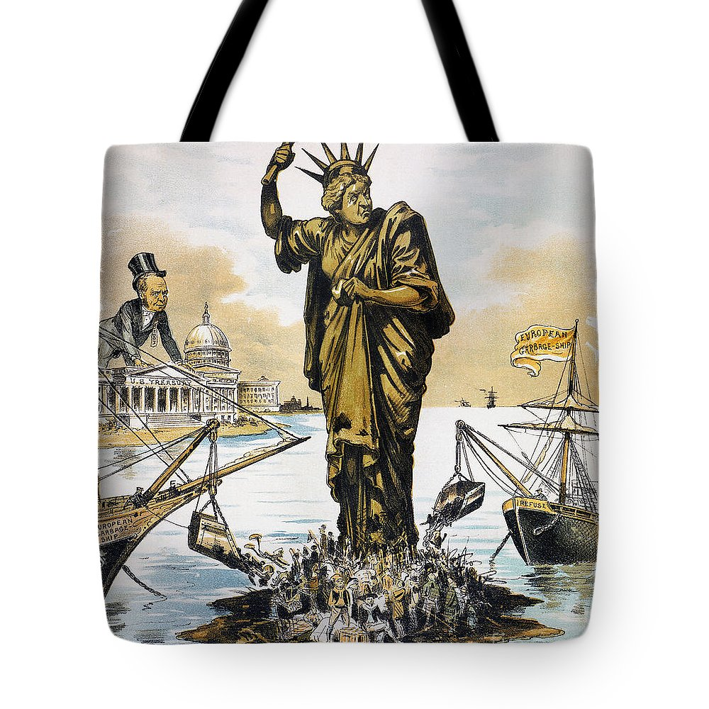 1890 Tote Bag featuring the photograph Anti-immigration Cartoon by Granger