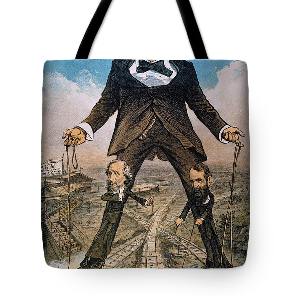Tote Bag featuring the painting Anti-trust Cartoon, 1879 by Granger