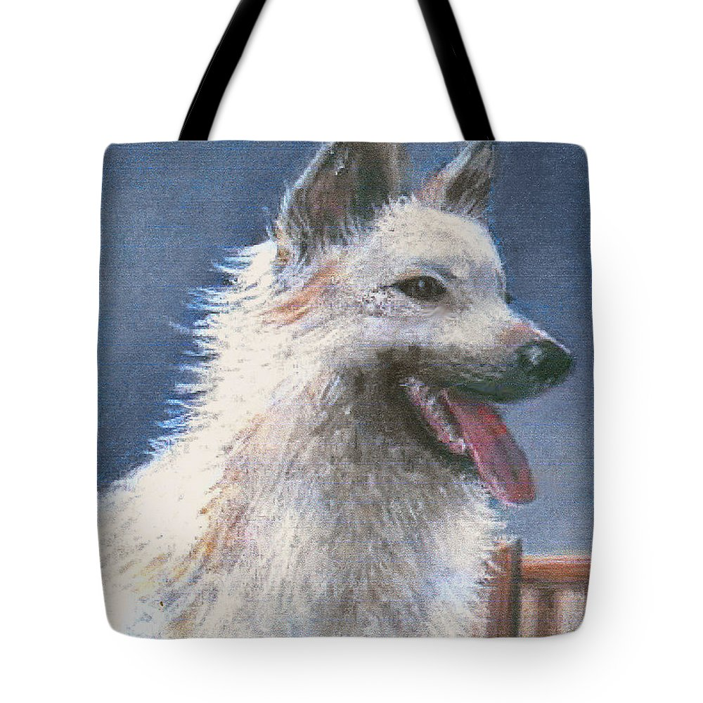 Dog Tote Bag featuring the pastel Anticipating Their Return by Arline Wagner