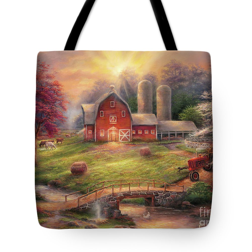 Quintessential Farm Tote Bag featuring the painting Anticipation Of The Day Ahead by Chuck Pinson