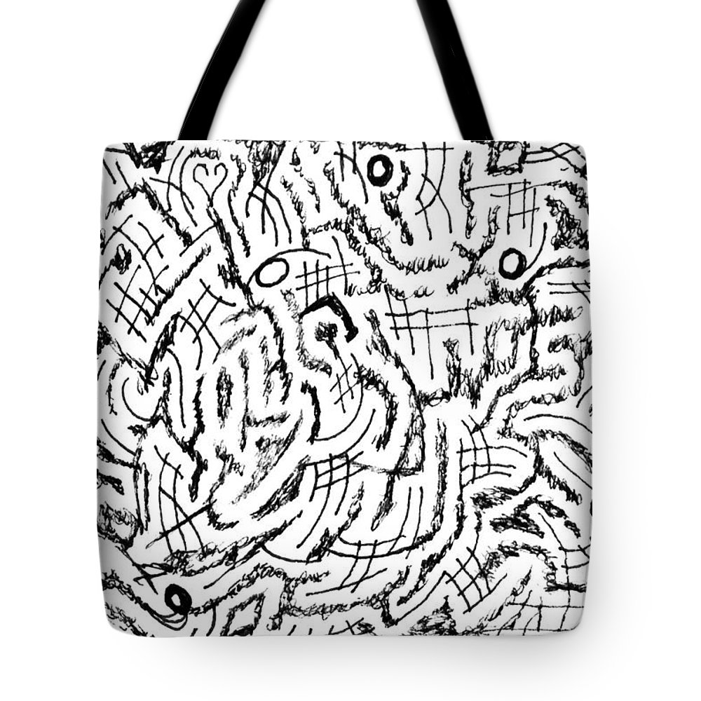 Mazes Tote Bag featuring the drawing Anticipative by Steven Natanson