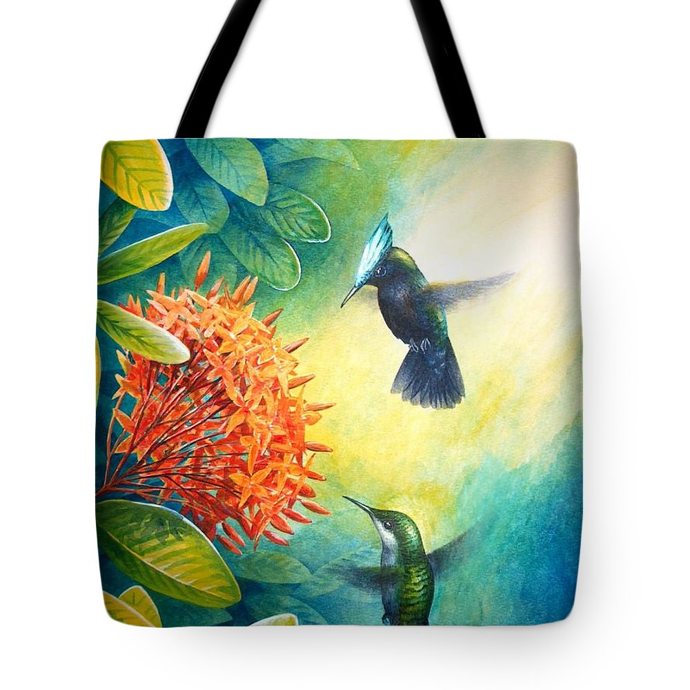 Chris Cox Tote Bag featuring the painting Antillean Crested Hummingbirds and ixora by Christopher Cox