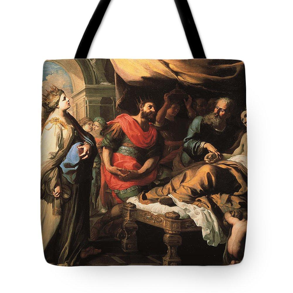 Bernardino Mei Tote Bag featuring the painting Antiochus And Stratonike by Bernardino Mei