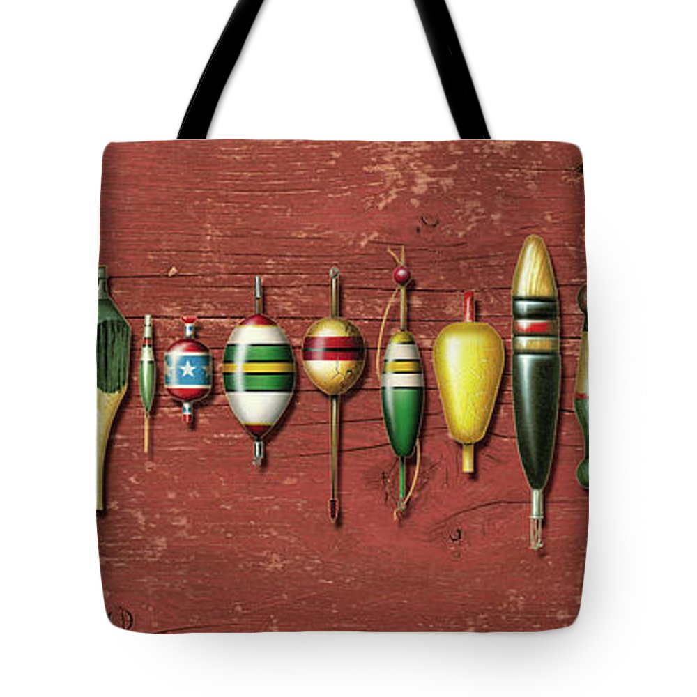 Jon Q Wright Tote Bag featuring the painting Antique Bobbers Red by JQ Licensing