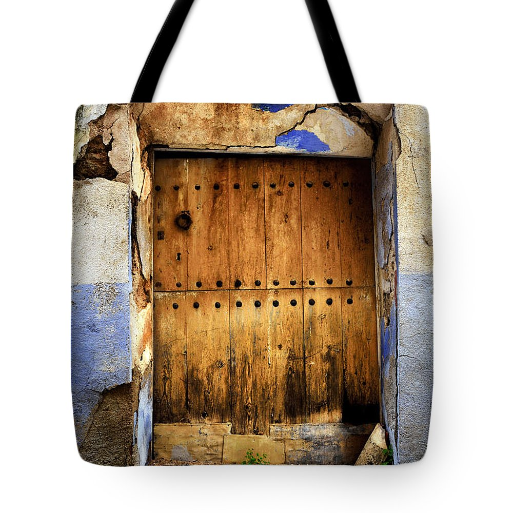 Brown Tote Bag featuring the photograph Antique Brown Door by RicardMN Photography
