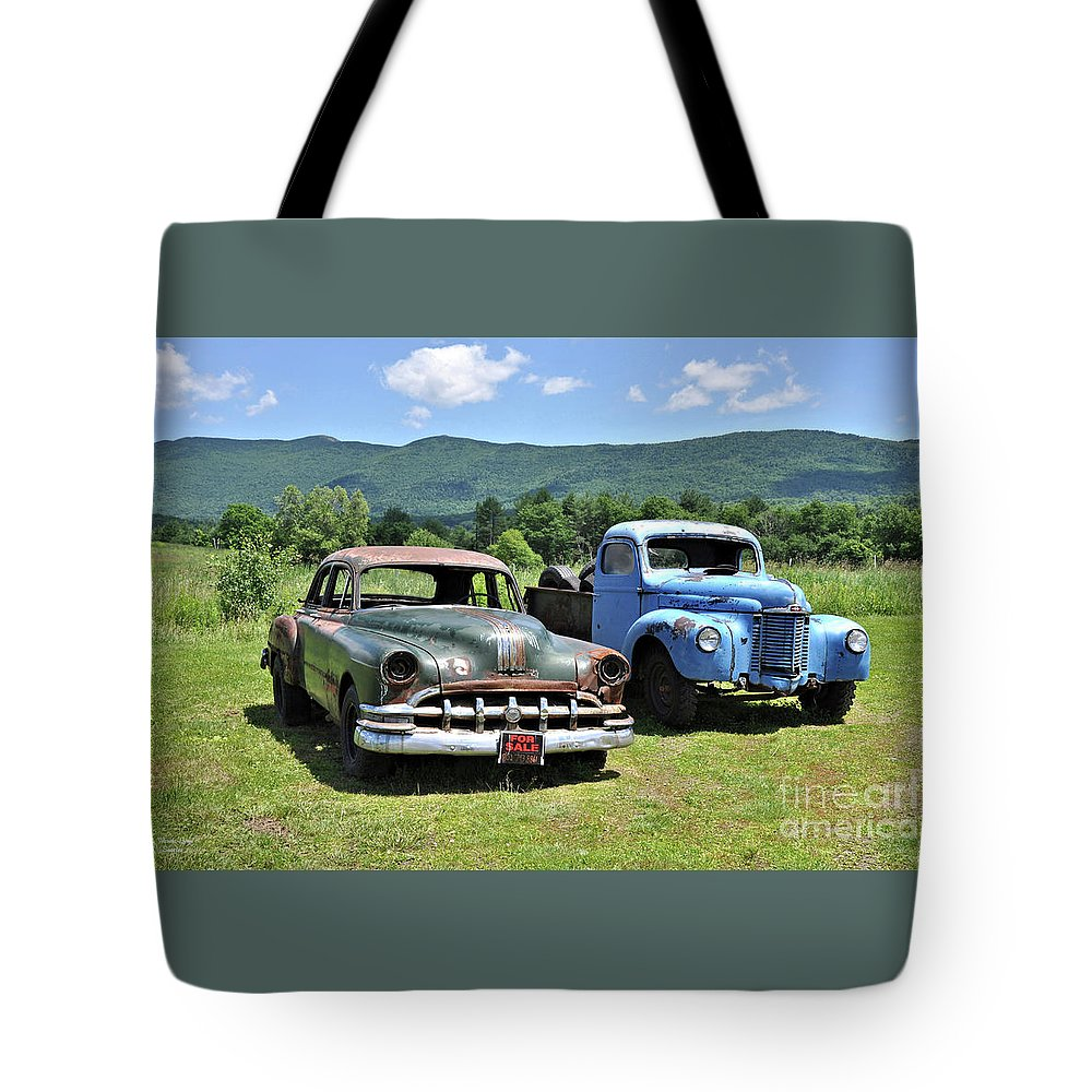 Antique Tote Bag featuring the photograph Antique Cars by Wanda-Lynn Searles