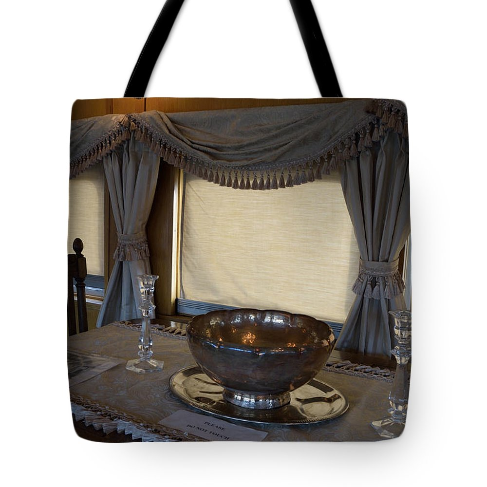Train Car Tote Bag featuring the photograph Antique Elegance by Ashley Hougelman