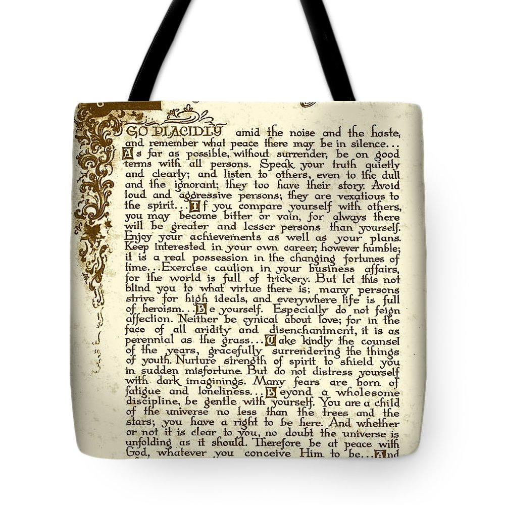Desiderata Tote Bag featuring the drawing Antique Florentine Desiderata On Parchment. by Desiderata Gallery