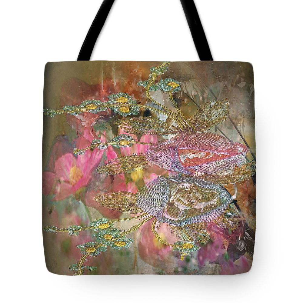 Tote Bag featuring the digital art Antique Flowers by Joseph Matey