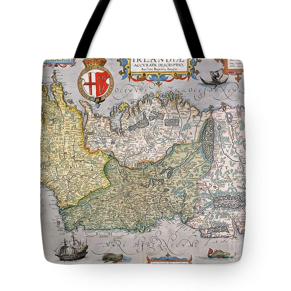 Eire Tote Bag featuring the drawing Antique Map Of Ireland by English School