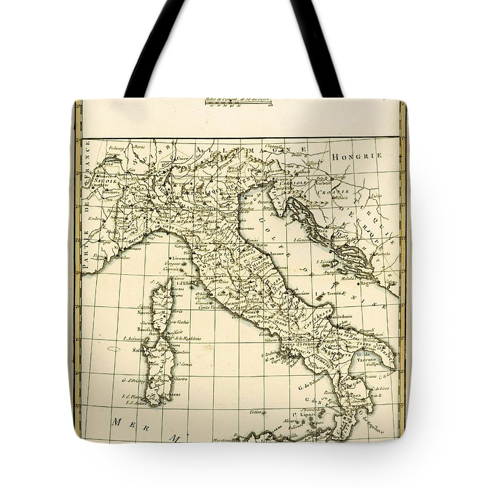 Maps Tote Bag featuring the drawing Antique Map Of Italy by Guillaume Raynal