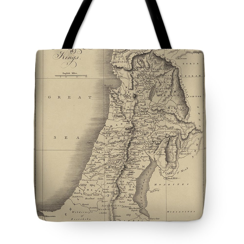 24aaded27b Judah And Israel Tote Bag featuring the drawing Antique Map Of Judah And  Israel by English