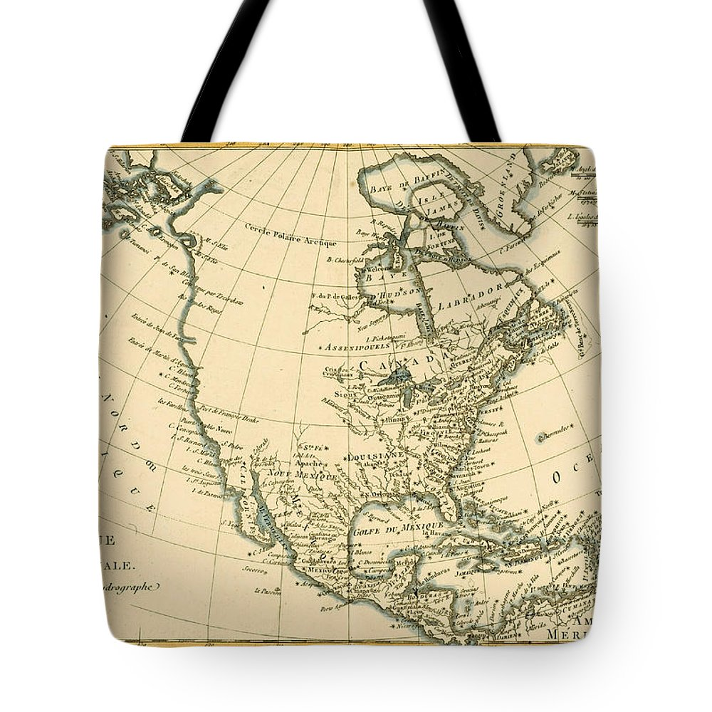 Maps Tote Bag featuring the drawing Antique Map Of North America by Guillaume Raynal