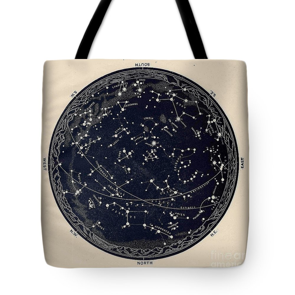 Antique Map Of The Night Sky 19th Century Astronomy Tote Bag For