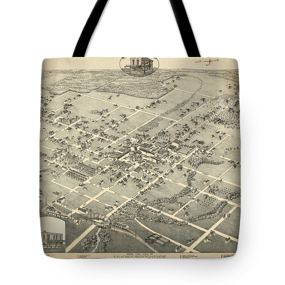 Antique Birds Eye View Map Of Denton Tote Bag featuring the drawing Antique Maps - Old Cartographic Maps - Antique Birds Eye View Map Of Denton, Texas, 1883 by Studio Grafiikka