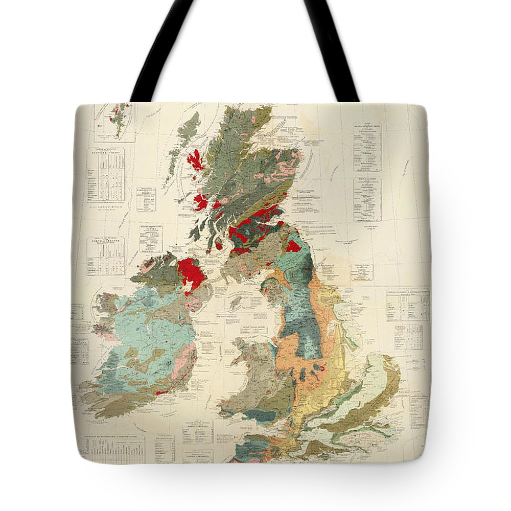 Antique Geographical And Palaeontological Map Of British Islands Tote Bag featuring the drawing Antique Maps - Old Cartographic Maps - Antique Geological Map Of The British Islands by Studio Grafiikka