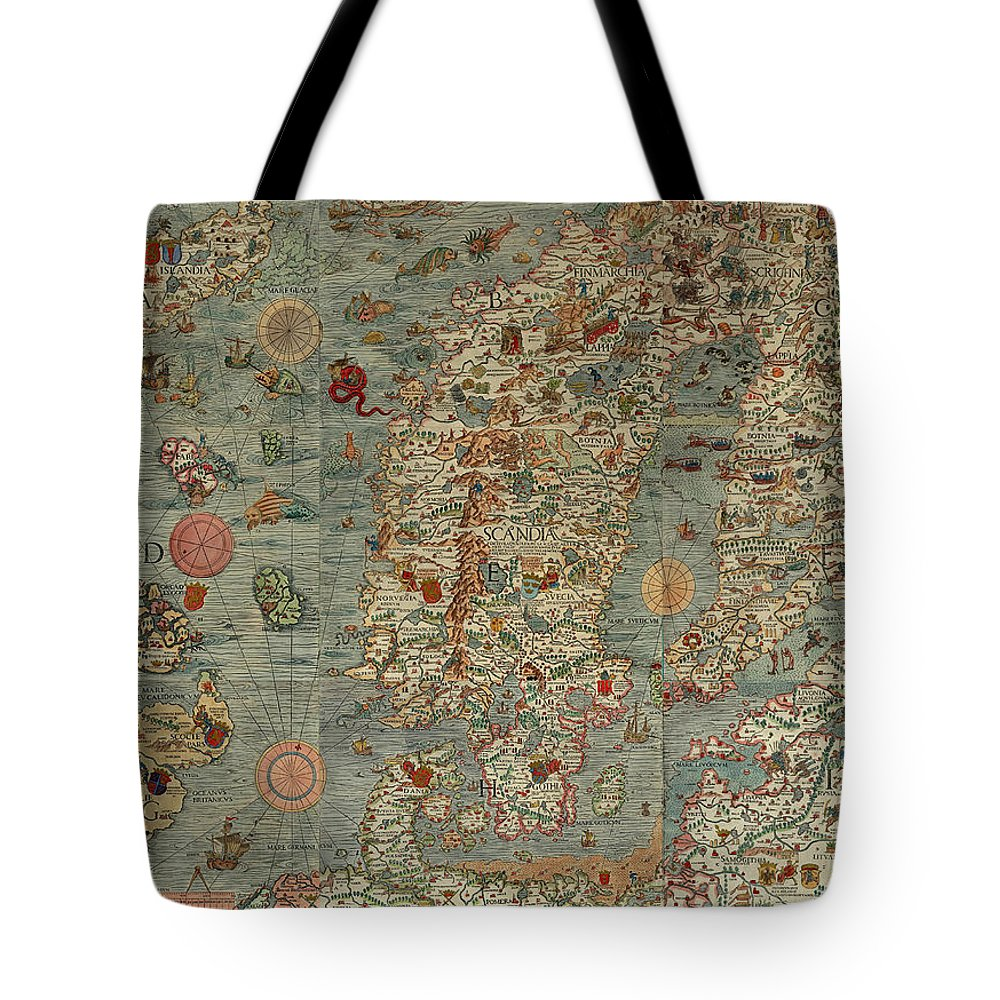 Antique Map Of Scandinavia Tote Bag featuring the drawing Antique Maps - Old Cartographic Maps - Antique Map Of Scandinavia In Latin, 1539 by Studio Grafiikka