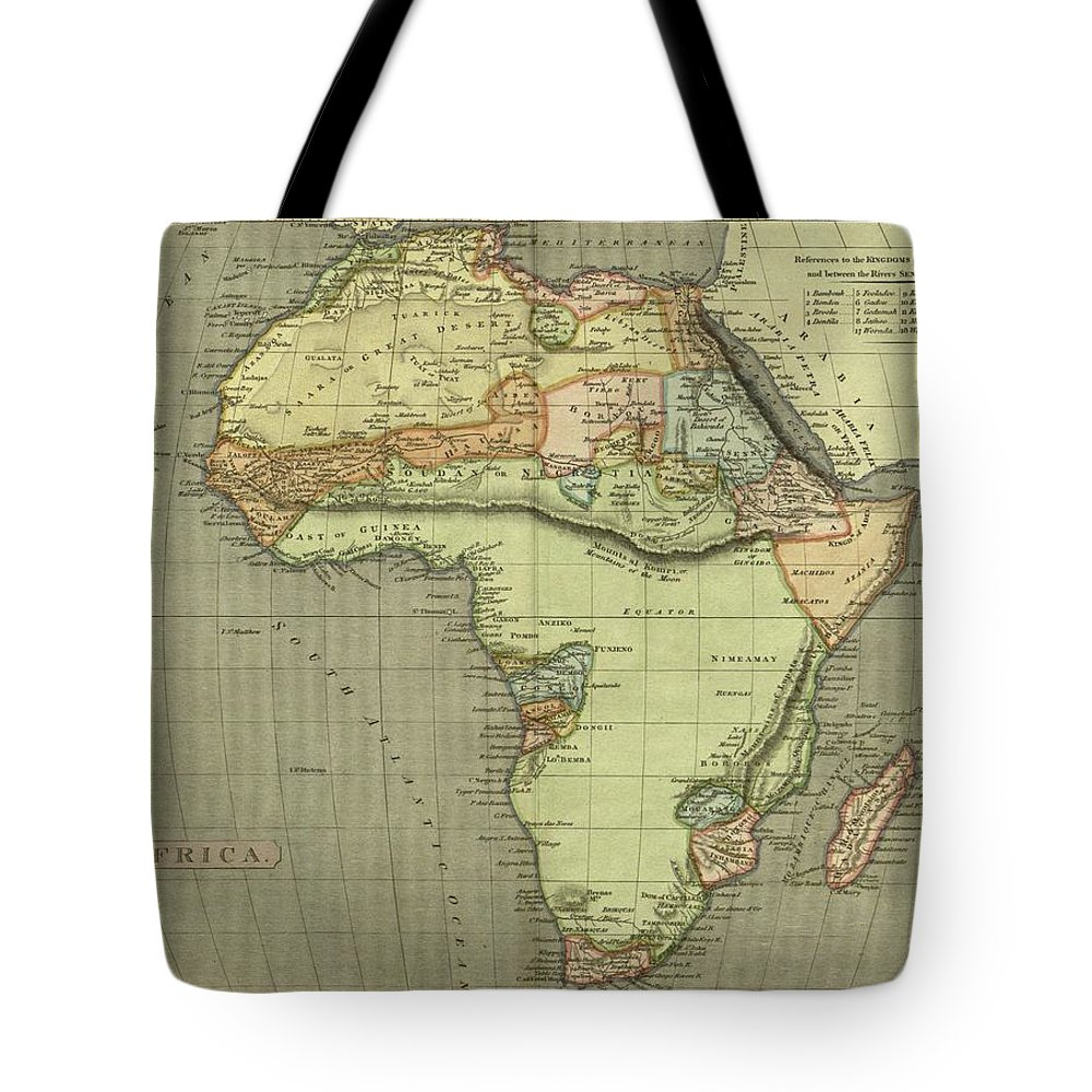 Antique Map Of Africa Tote Bag featuring the drawing Antique Maps - Old Cartographic Maps - Antique Map Of Africa by Studio Grafiikka
