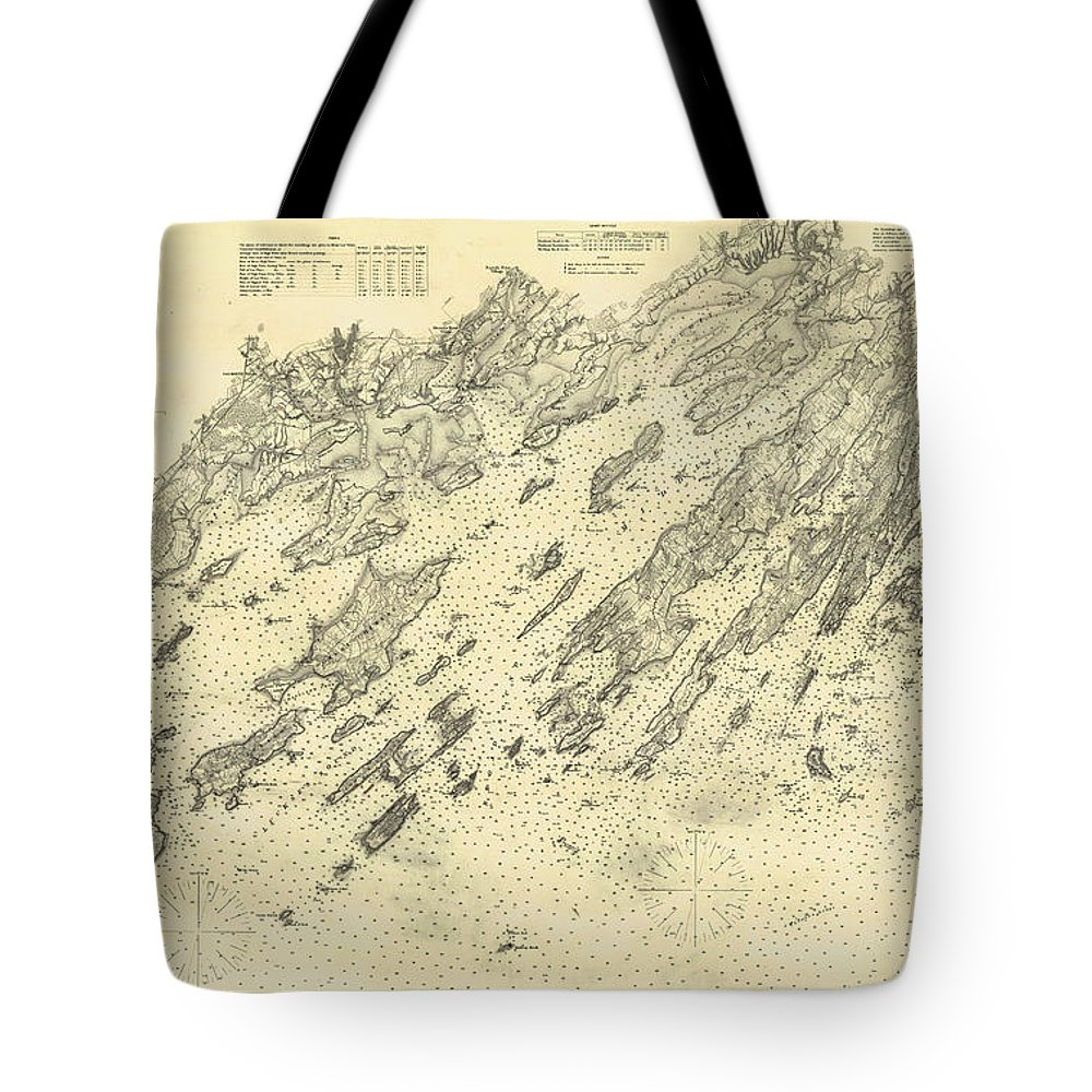 Antique Map Of Casco Bay Tote Bag featuring the drawing Antique Maps - Old Cartographic Maps - Antique Map Of Casco Bay, Maine, 1870 by Studio Grafiikka