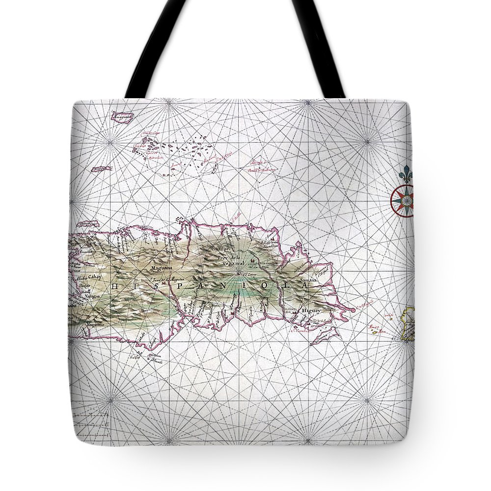 Antique Map Of Hispaniola Tote Bag featuring the drawing Antique Maps - Old Cartographic Maps - Antique Map Of Hispaniola - Caribbean Island by Studio Grafiikka