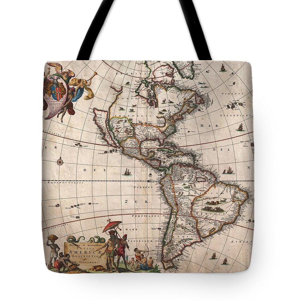 Antique Map Of North America Tote Bag featuring the drawing Antique Maps - Old Cartographic maps - Antique Map of North and South America, 1658 by Studio Grafiikka