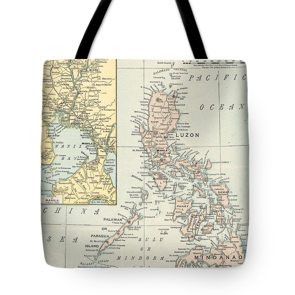 Antique Philippine Island Map Tote Bag featuring the drawing Antique Maps - Old Cartographic Maps - Antique Map Of Philippine Islands And Manila Bay, 1898 by Studio Grafiikka