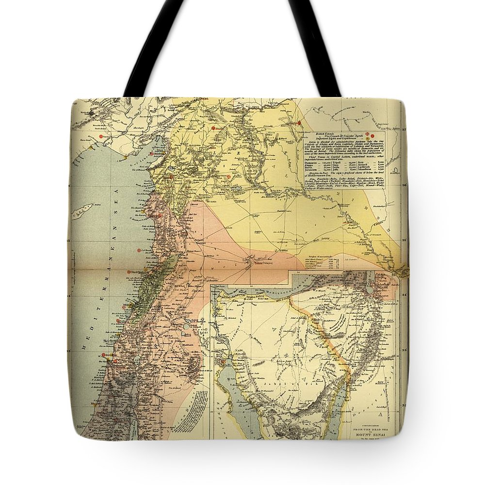 Antique Map Of Syria Tote Bag featuring the drawing Antique Maps - Old Cartographic Maps - Antique Map Of Syria, 1884 by Studio Grafiikka