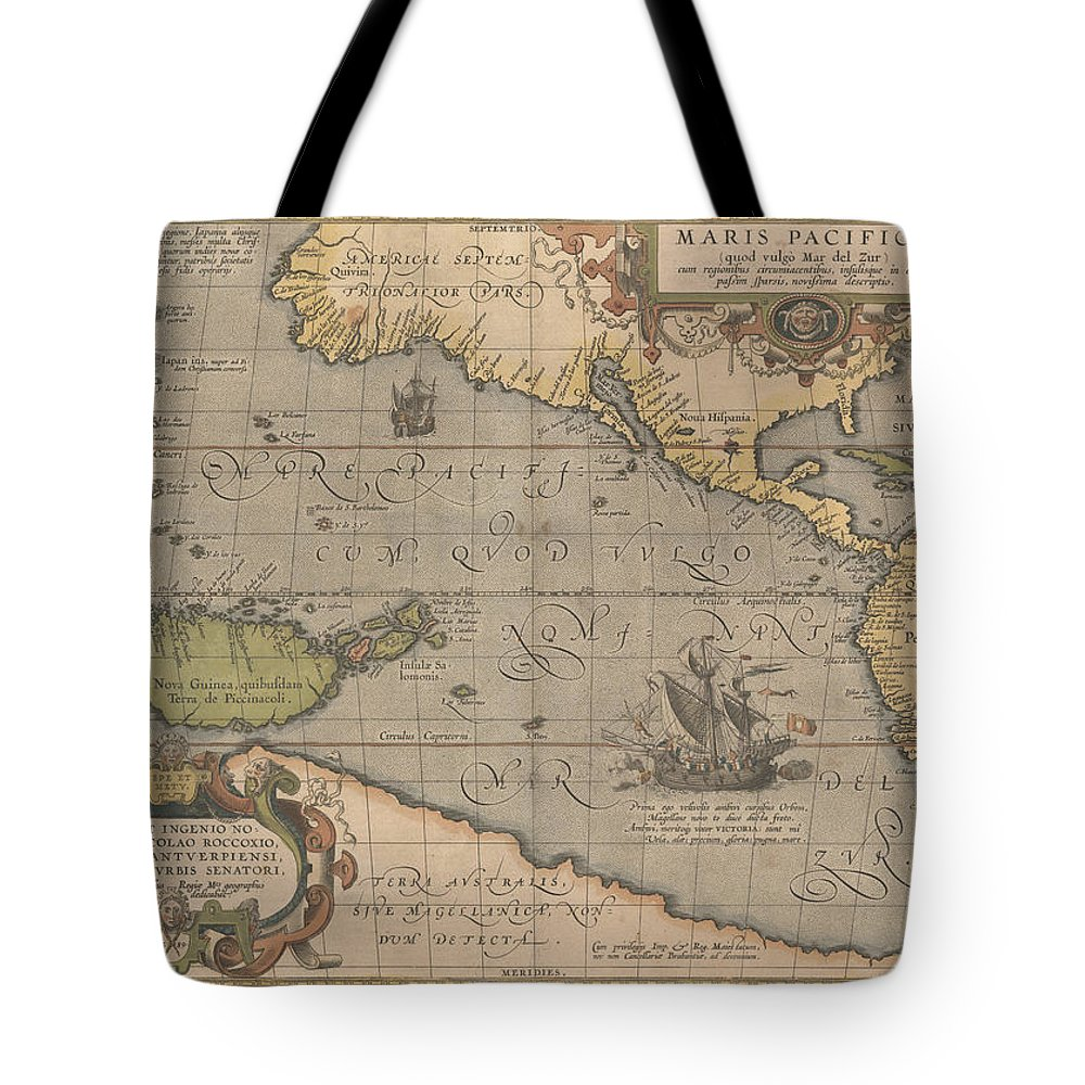 Antique Map Of The Pacific Ocean Tote Bag featuring the drawing Antique Maps - Old Cartographic Maps - Antique Map Of The Pacific Ocean - Mar Del Zur, 1589 by Studio Grafiikka