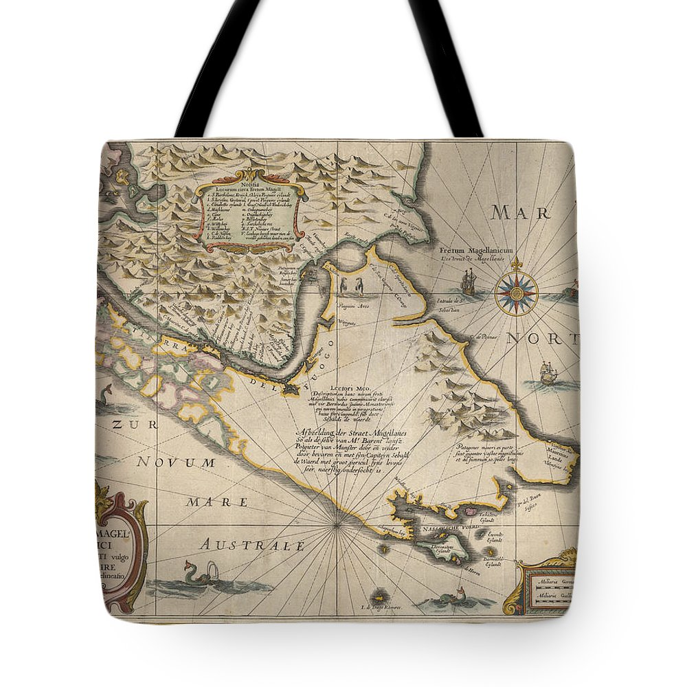 Antique Map Of The Strait Of Magellan Tote Bag featuring the drawing Antique Maps - Old Cartographic Maps - Antique Map Of The Strait Of Magellan, South America, 1635 by Studio Grafiikka