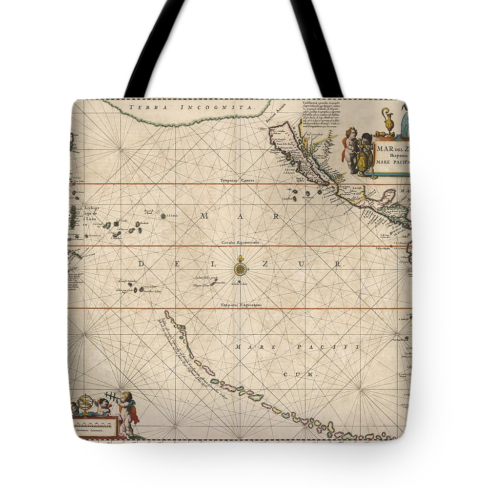 Antique Map Of The Strait Of Magellan Tote Bag featuring the drawing Antique Maps - Old Cartographic Maps - Antique Map Of The Strait Of Magellan, South America, 1650 by Studio Grafiikka