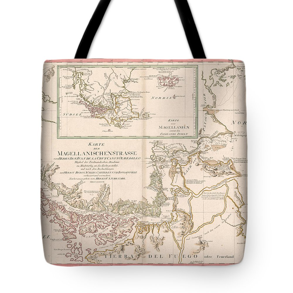 Antique Map Of The Strait Of Magellan Tote Bag featuring the drawing Antique Maps - Old Cartographic Maps - Antique Map Of The Strait Of Magellan, South America, 1787 by Studio Grafiikka
