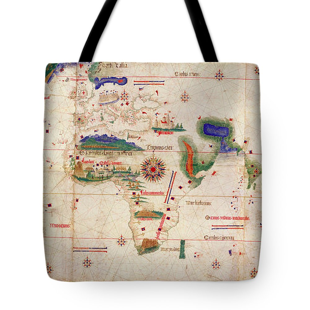 Antique Map Of The World Tote Bag featuring the drawing Antique Maps - Old Cartographic Maps - Antique Map Of The World, 1502 by Studio Grafiikka